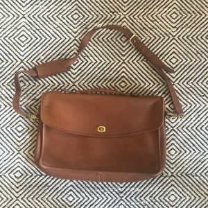 COACH light brown leather cross body briefcase